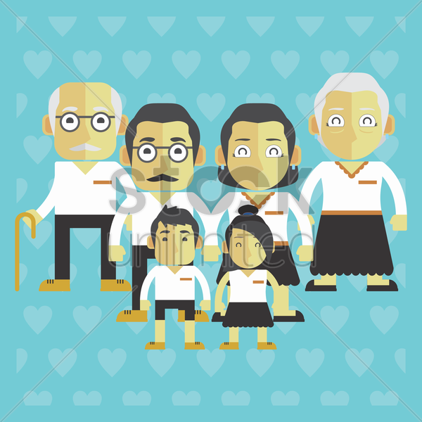 grandparents family vector graphic