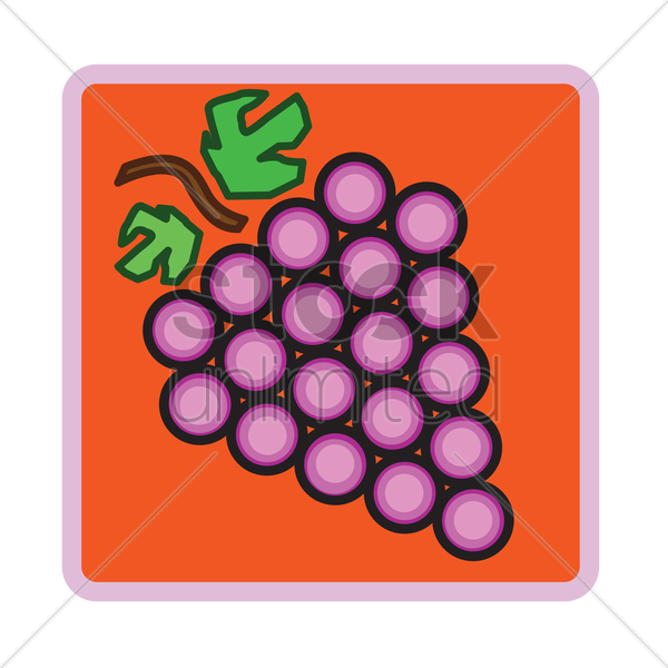 Free grapes over red background vector graphic