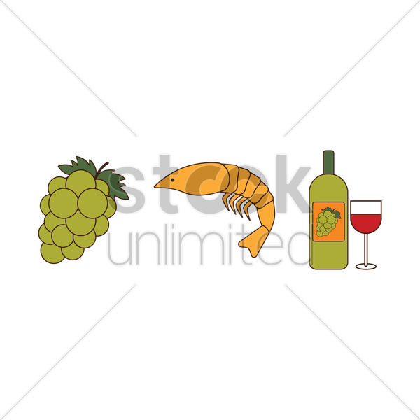 grapes with shrimp and wine vector graphic