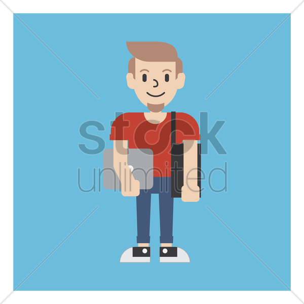 graphic designer holding a laptop and bag vector graphic