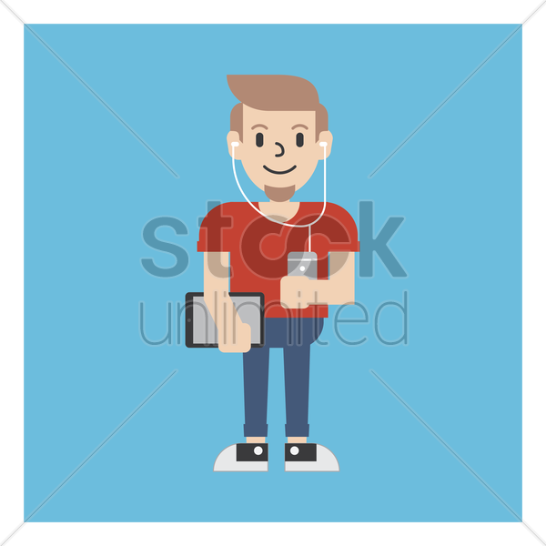 graphic designer with a tablet and phone vector graphic