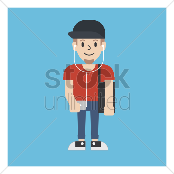 graphic designer with his phone and bag vector graphic