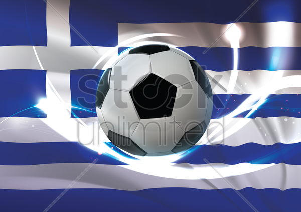 greece flag with soccer ball vector graphic