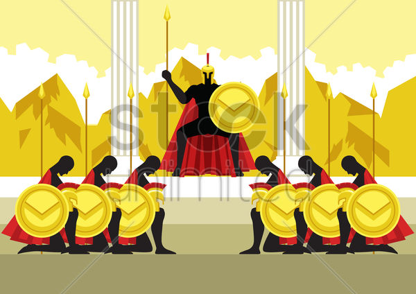 greek soldiers bowing to their commander vector graphic