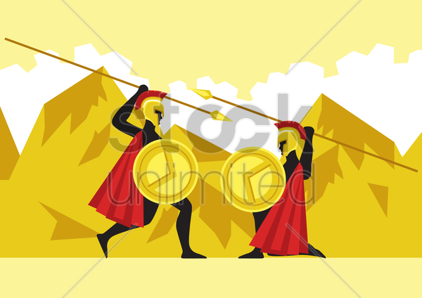 greek soldiers fighting with spears vector graphic