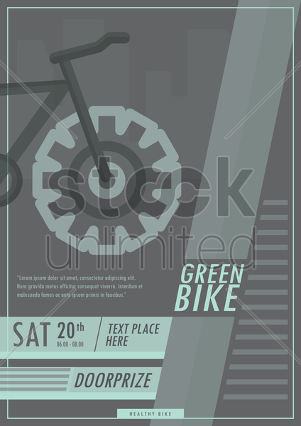green bike poster vector graphic