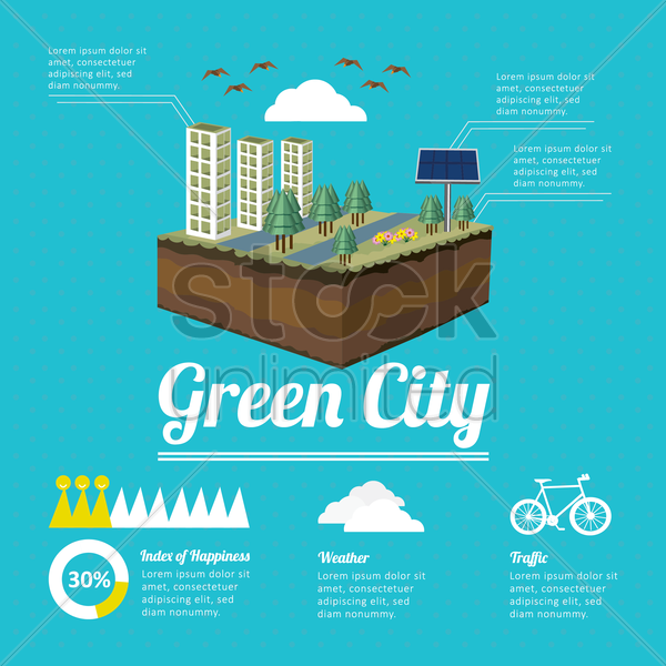 green city infographic vector graphic