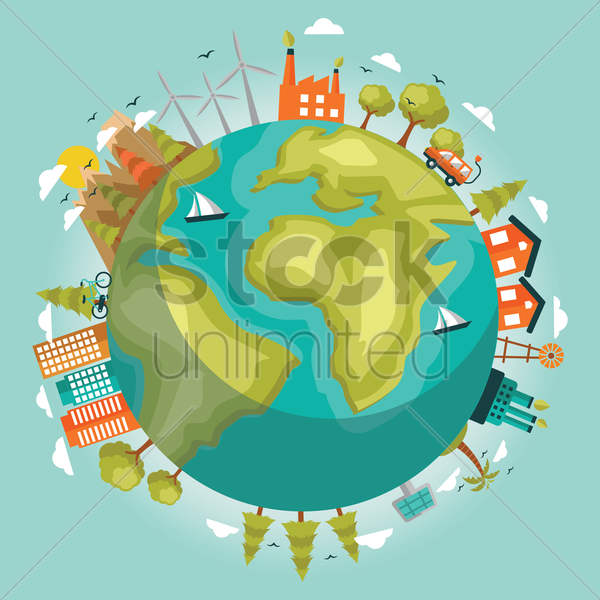 green environment world concept vector graphic