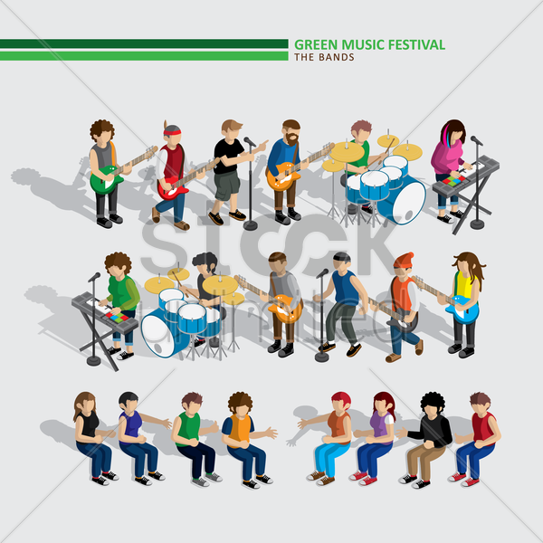 green music festival bands vector graphic