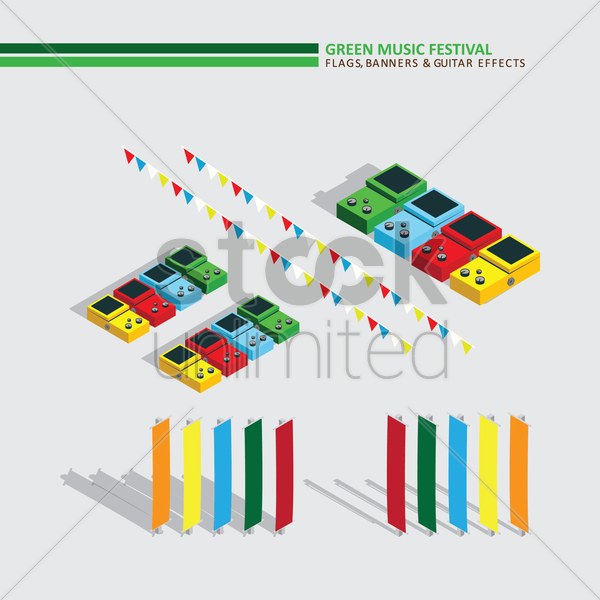 green music festival flags banners and guitar effects vector graphic