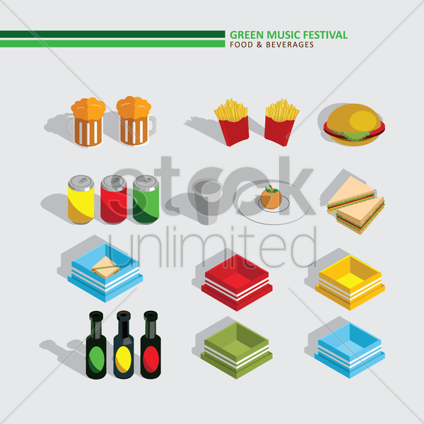 green music festival food and beverages vector graphic
