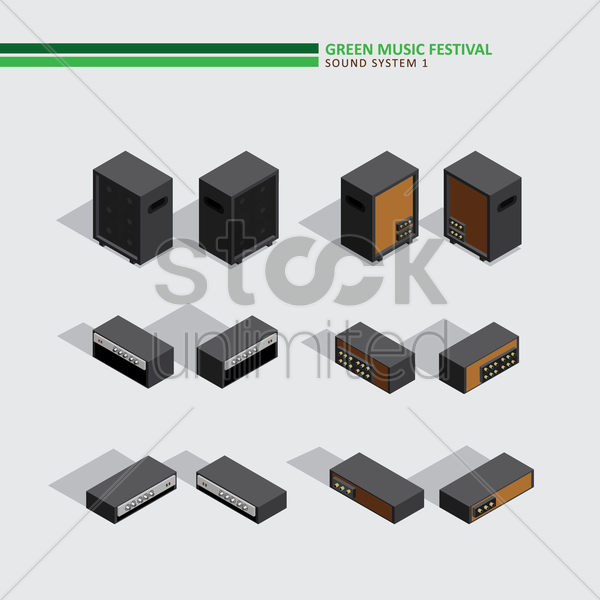green music festival sound system vector graphic
