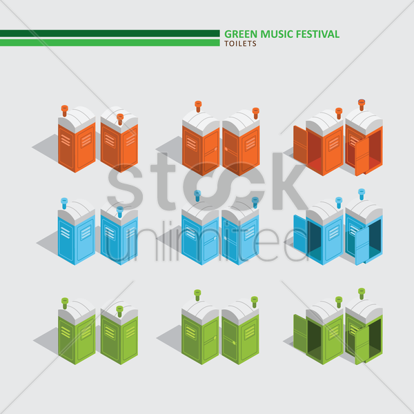 green music festival toilets vector graphic
