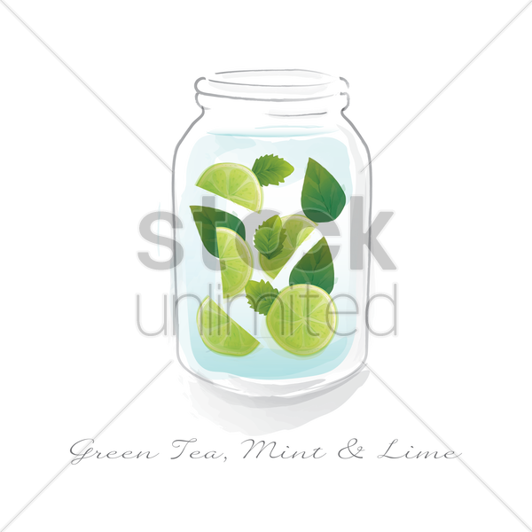 green tea mint and lime in a jar vector graphic