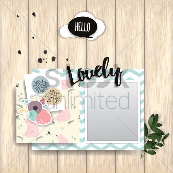 greeting card with photo frame on wooden plank vector graphic