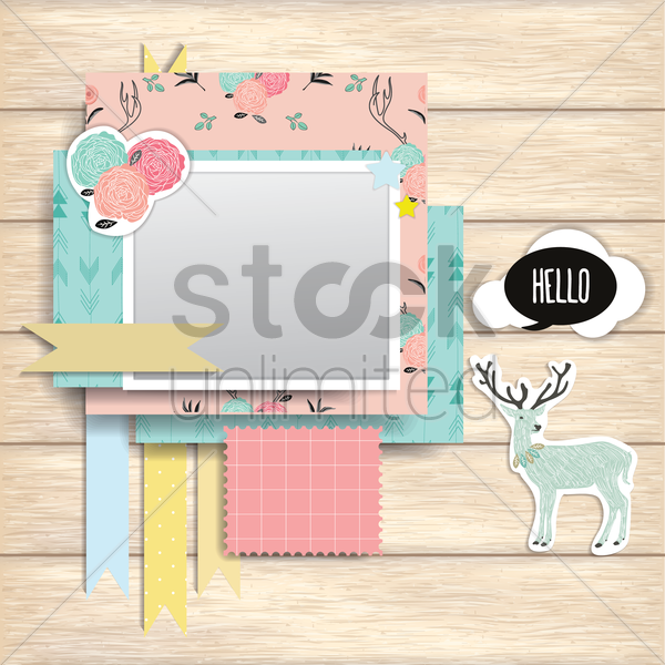 greeting cards on wooden plank vector graphic