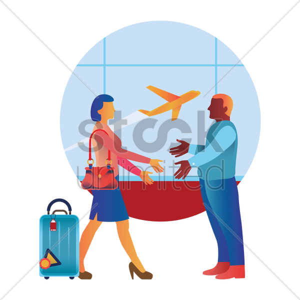 greeting in an airport vector graphic