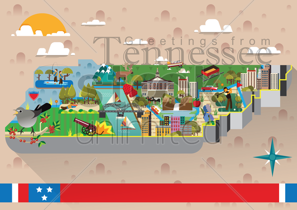 greetings from tennessee vector graphic