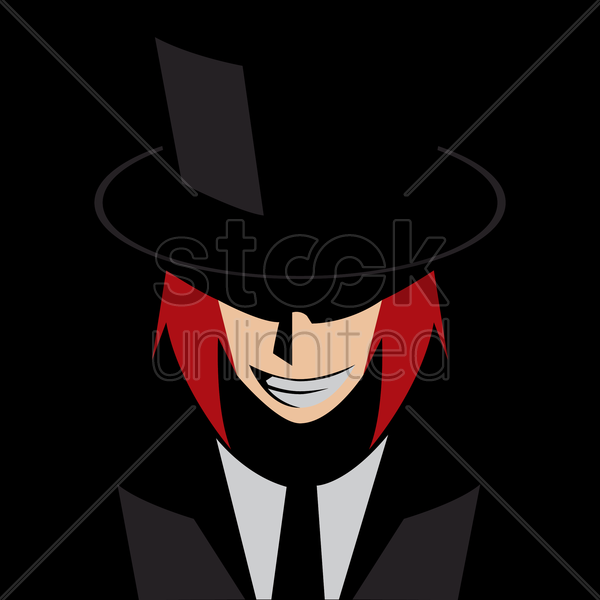 grinning man in a suit and hat vector graphic