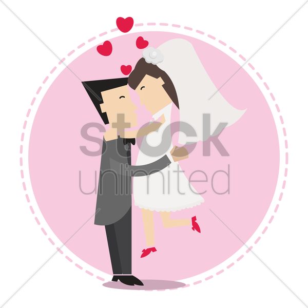 groom lifting the bride in happiness vector graphic
