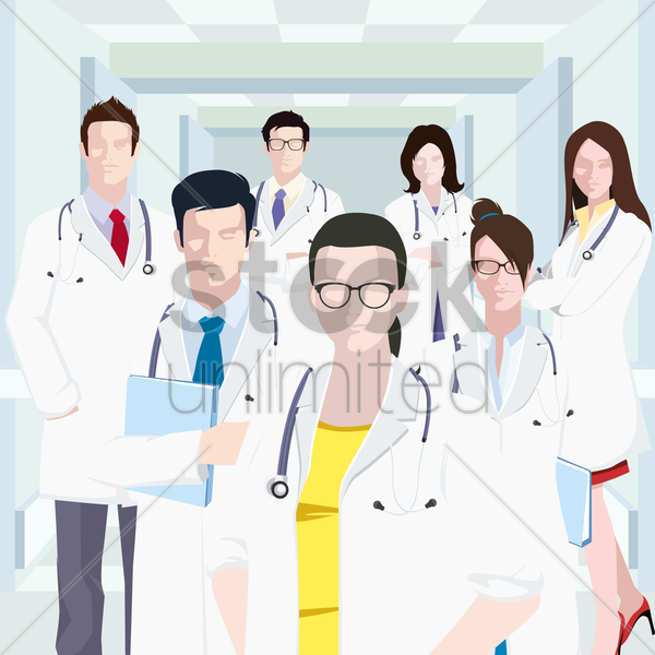 group of doctors vector graphic