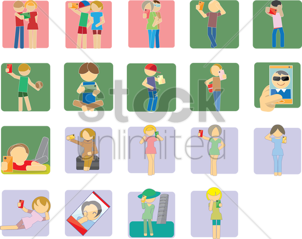 group of individual selfies vector graphic