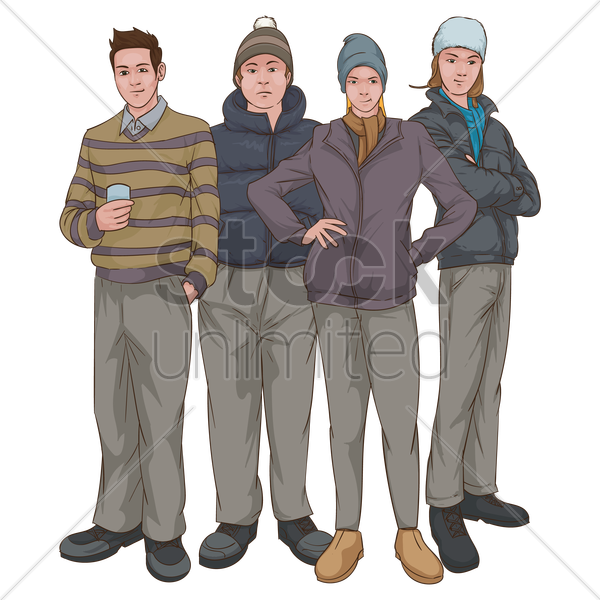 group of people in casual clothing vector graphic
