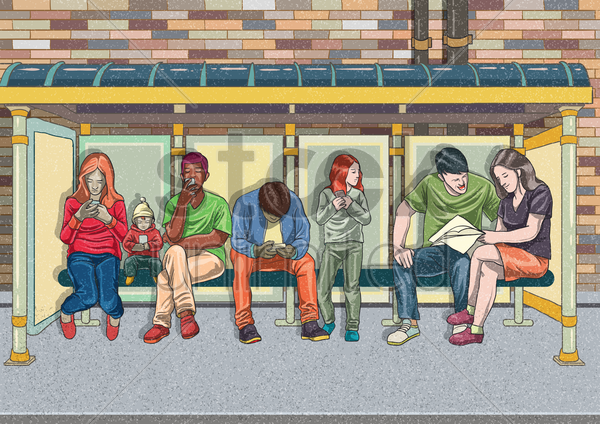 group of people on their mobile phones and a couple socializing vector graphic