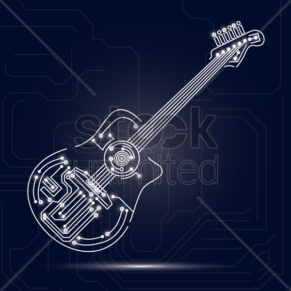 guitar design on circuit board background vector graphic