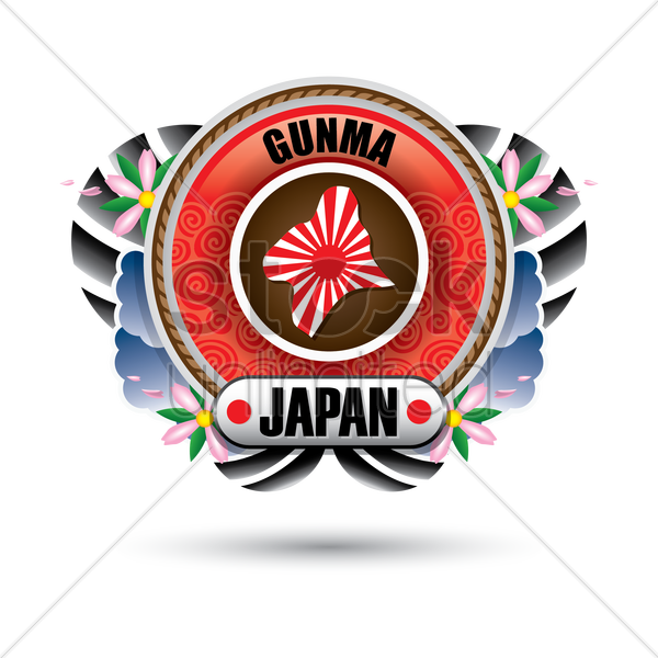 gunma map sticker vector graphic