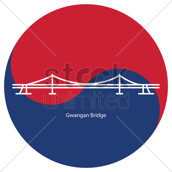 gwangan bridge vector graphic