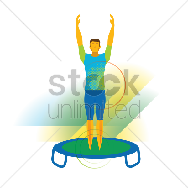 gymnast on a trampoline vector graphic