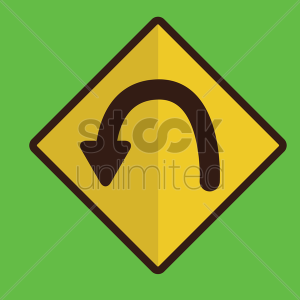 hairpin curve road sign vector graphic