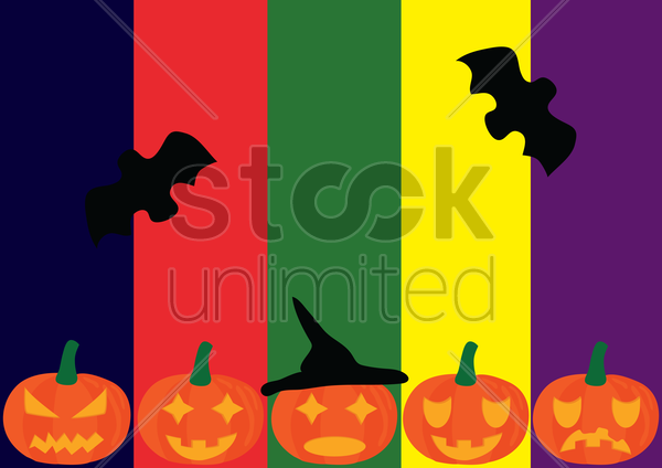 halloween background with pumpkins and bats vector graphic