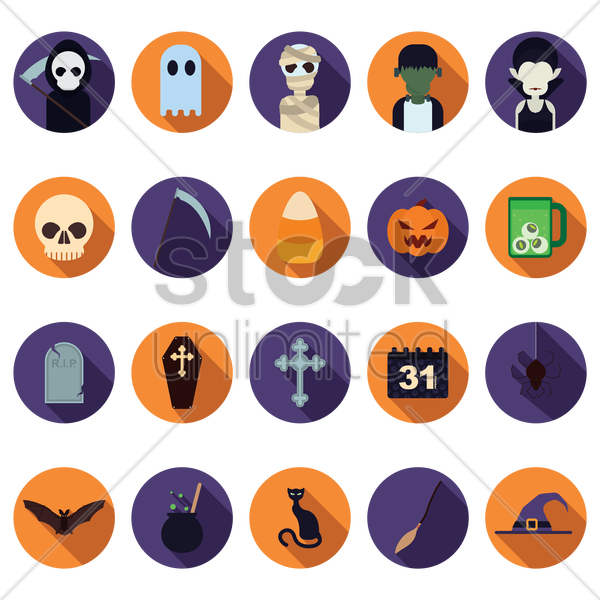 halloween icon set vector graphic