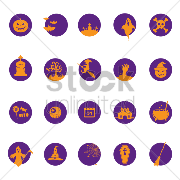 halloween icons collection vector graphic