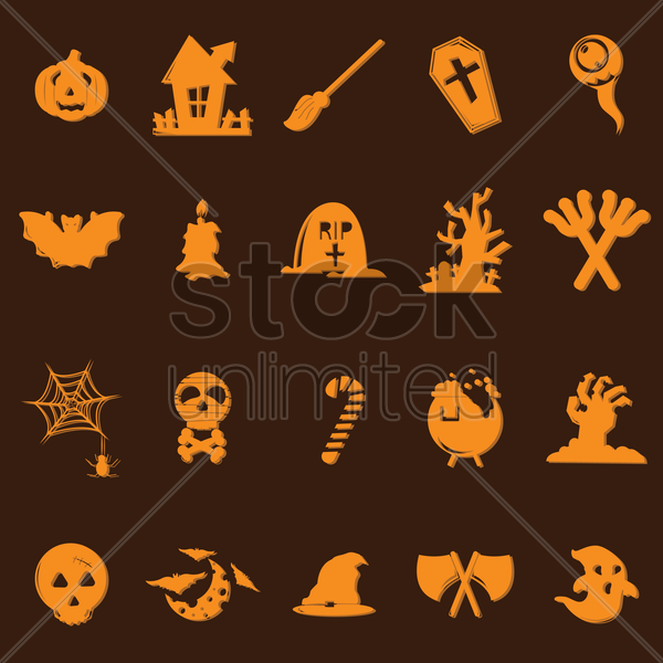 halloween icons set vector graphic