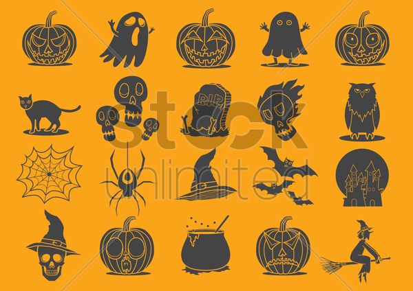 halloween icons vector graphic