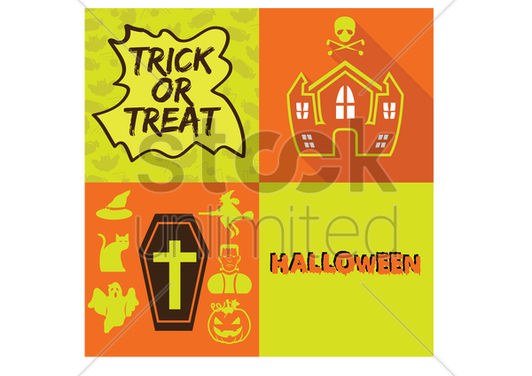 halloween related items vector graphic