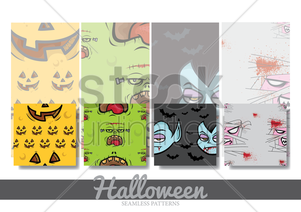 halloween seamless pattern collection vector graphic