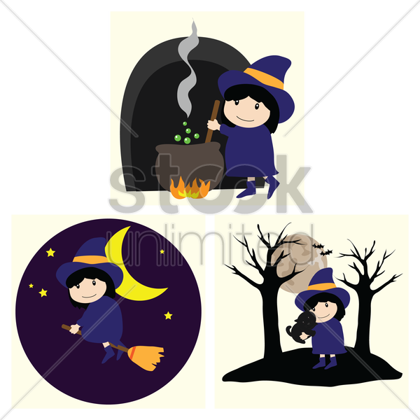 halloween witch set vector graphic