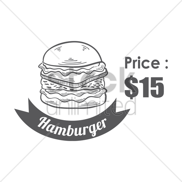 hamburger menu title with price vector graphic