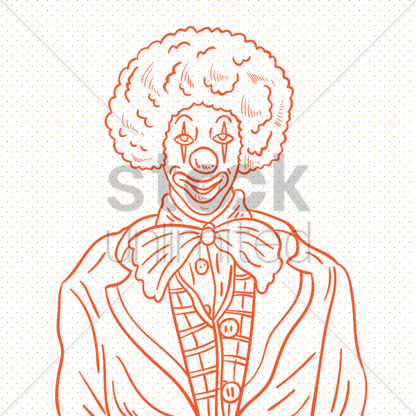 hand drawn clown vector graphic