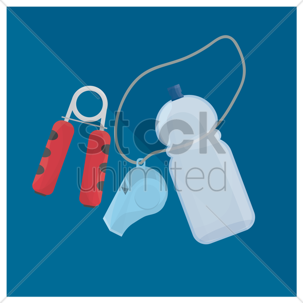 hand grip, whistle and water bottle vector graphic