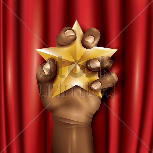 hand holding a star vector graphic