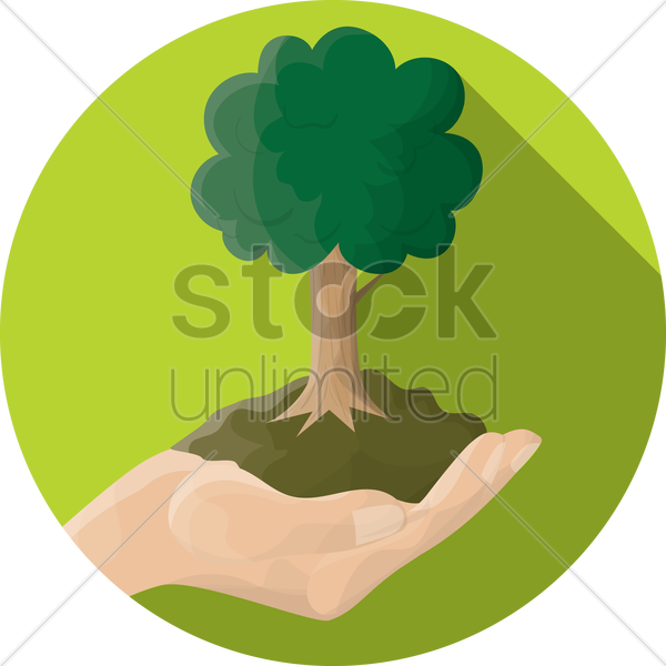 hand holding a tree vector graphic