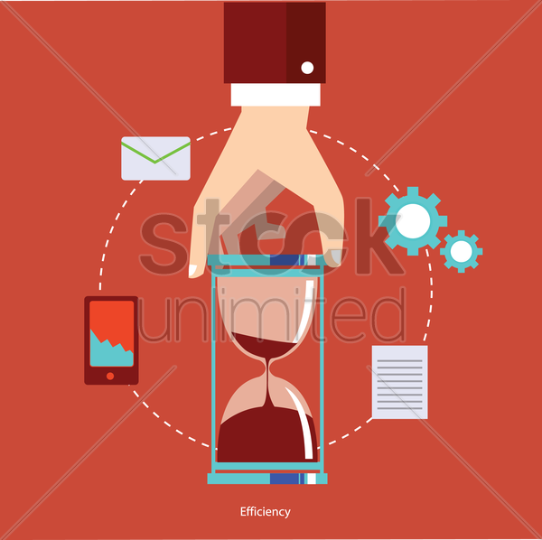 hand holding hourglass with business icons vector graphic