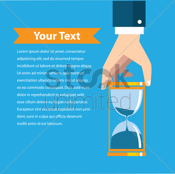 hand holding hourglass with copy space vector graphic