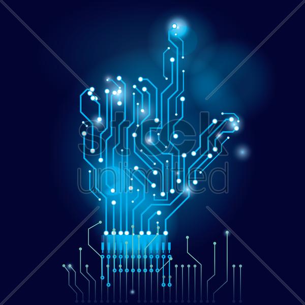 hand on circuit board wallpaper vector image 1807673