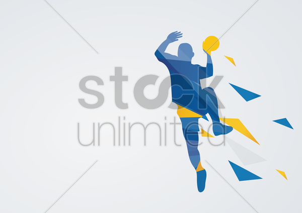 handball in action vector graphic